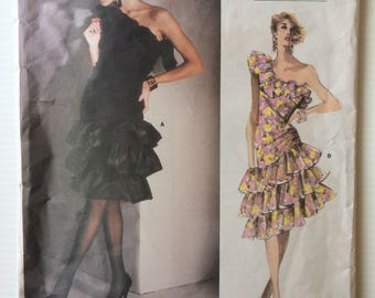 Vogue Paris Original sewing pattern 1702 - Givenchy Misses' one shouldered evening dress - size 12