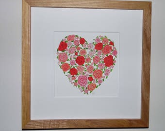 Framed Rose Heart Print