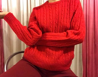 70's Red Wool Knit Sweater