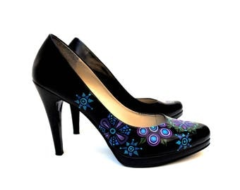 Geo Floral Hand Painted Upcycled Women's Leather Platform Shoes