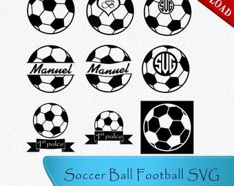 Soccer Ball Football SVG, Soccer Silhouette, Monogram Soccer Ball, Cricut Soccer Ball, Clipart, Cut, Vector digital, svg, dxf, eps, png
