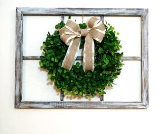 faux window frame 6 pane window with wreath window frame hanging decor farmhouse - Window Frame Wall Decor