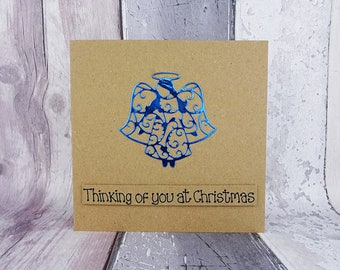 Angel Christmas card, Handmade foiled angel Bereavement card, Thinking of you at Christmas, Loss of a loved one, Lonely at Christmas, Widow