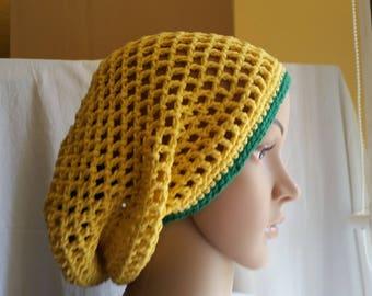 BEANIE, SUMMERBEANIE, Yellow Beanie, Cotton Beanie, Beanie Brasilia Crochet Beanie