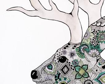 Deer mandala original watercolor artwork, Zentangle deer painting