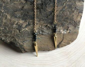 Gold Dangle Earrings, Bohemian Jewelry