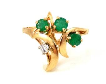 14K Asymmetrical Emerald & Diamond Ring - X4203