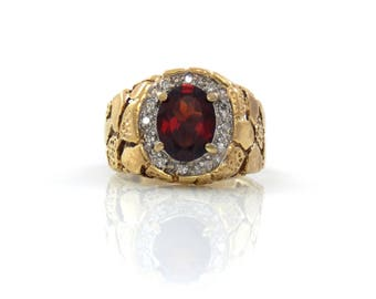 10K Gold Nugget Garnet & Diamond Ring - X4466