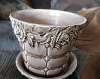 Vintage McCoy flower pot, mocha brown Wall with Roses pattern