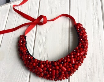 Red necklace, natural stone necklace, bib necklace, fashion jewelry, handmade necklace, gift for her, colorful necklace, unique jewelry