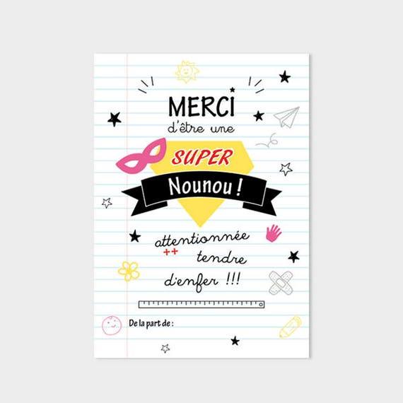 Hervorragend Carte remerciements Nounou cadeau nounou super nounou carte IT96