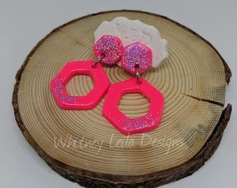 Handmade Polymer Clay 80's-Inspired Neon Pink Hexagon Dangly Earrings