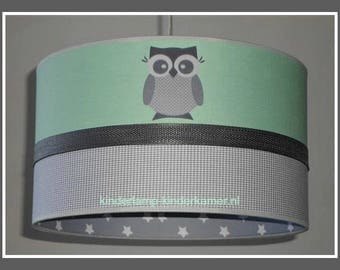 Lamp baby room mint green owls