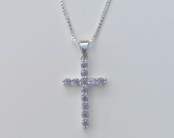 "Amethyst Cross Necklace- 925 Silver Filled- 18"" Necklace Chain- Pendant and Necklace- Charm- February Birthstones- Purple Stone Cross"