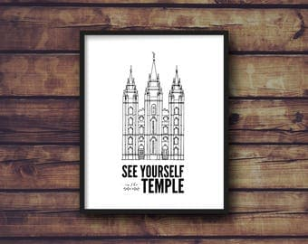 LDS Salt Lake Temple Print & Quote | 8x10, 16x20 | Digital Print | Instant Download | See Yourself in the Temple