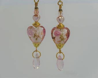 Heart dangle earrings with pink and gold lampwork heart and Swarovski heart bead