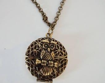 Owl Locket Essential Oil Diffuser Necklace