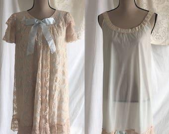 Vintage 1950's Lace Peignoir set by Odette Barsa