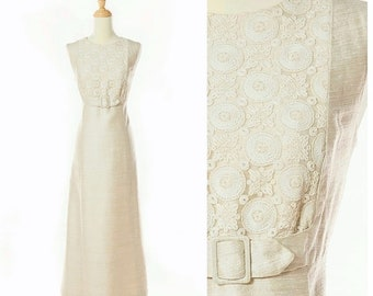 1960s Silk Ivory Column Gown with Embroidered Lace by Gurelli