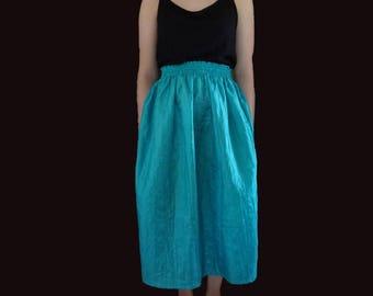 Blue midi skirt, vintage midi skirt, puffy midi skirt, cerulean midi skirt, cerulean vintage skirt, femenine cut midi skirt XS S M L