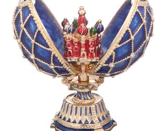 Russian Faberge Style Egg with Church of Savior on Blood St.Petersburg 7cm (2.8'') blue