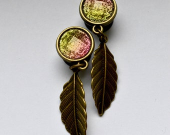 Sparkling feather plugs 10mm one-offs -.