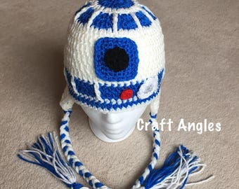 R2d2 Hat, crochet r2d2 hat, crochet boys hat, crochet hat, crochet hat for 5-9 year old, Star Wars crochet hat, Star Wars hat, crochet hat