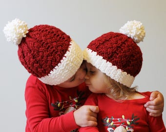 Santa Hat, Christmas in July, Christmas Hat, Christmas Photo Props, Baby Santa Hat, Pom Pom Hat, Pompom Hat, Santa Claus, Winter Hat