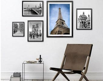 Paris Prints Set of 5 Paris Photography France Art Prints, French Decor, Eiffel Photo Notre-Dame Sacré-Cœur Paris Wall Art Digital Download