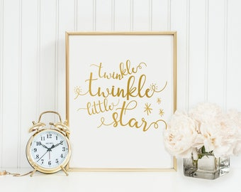 Twinkle Twinkle Little Star-Twinkle Twinkle Little Star Print-Gold Typography-Child's Nursery Room Print-Instant Download-Printable Wall Art