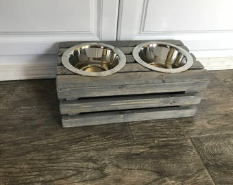 small raised dog bowl stand mini rustic raised crate dog bowls extra small elevated dog bowl