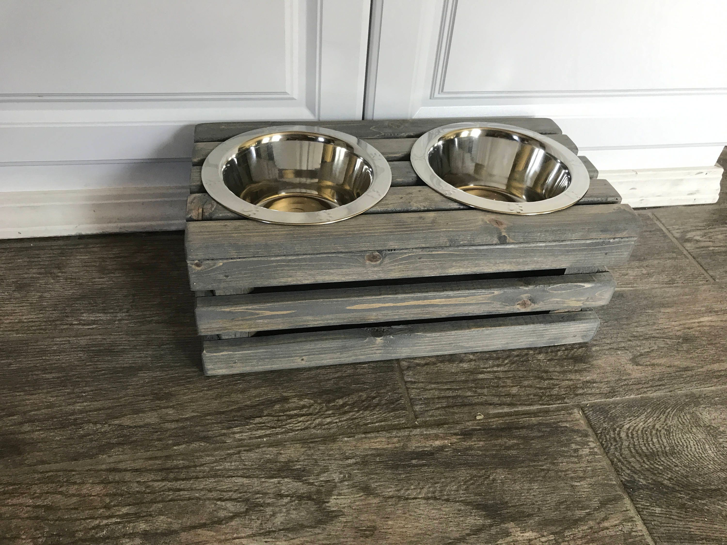 Small Raised Dog Bowl Stand Mini Rustic Raised Crate Dog Bowls