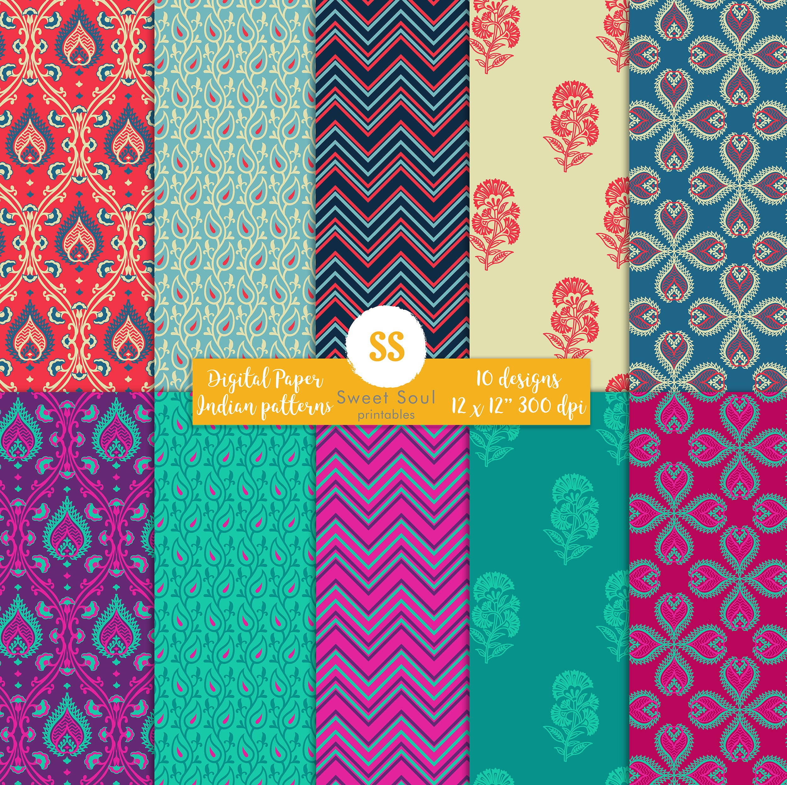 Indian digital paper decorative pattern scrap book paper pack this is a digital file jeuxipadfo Image collections