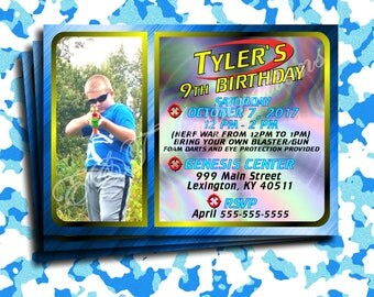 Dart Tag War Themed Birthday Party invite custom made with your child's picture, name, and information!