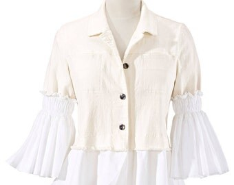 HECK YEAH FASHIONS: Natural Color Smocked Sleeve Denim Jacket, White Cotton Layered Bottom Hem, 3/4 White Sleeves/Button Front/Chest Pockets