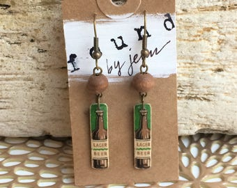 Matchstick Earrings, Vintage Earrings, Vintage Matchsticks, Beer Earrings, Lager Beer, Brown Earrings, Funky Earrings, Recycled Jewelry