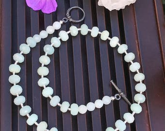 Natural Amazonite/925 Sterling Silver Necklace. Healing Natural Gemstone Necklace.