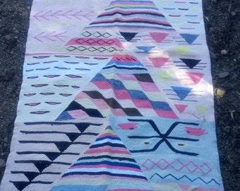 Berber Moroccan Boucherouite rugs moroccan decor  carpet berber rug 187 cm* 120 cm  / 73.5 inch * 47.5 inch Gift for him