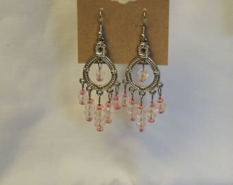 Pink and Clear Bead Chandelier Earrings
