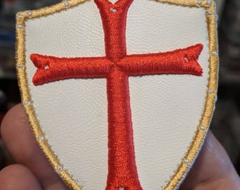 White PU Leather SHIELD red 3D CROSS Morale patch with hook and loop backing Templar Knight warrior Sword