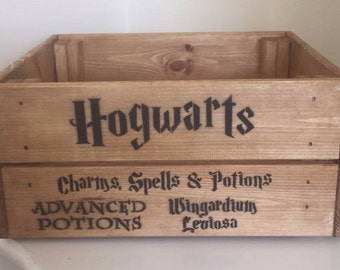 Harry Potter Hogwarts Charms Spells & Potions Vintage Wooden Crate Box Storage