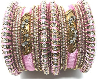 Indian Silk Thread Bangle Set Gold Tone silk threaded bangles by Himalayan Lotus