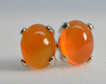 Carnelian earrings, sterling silver, studs,8x6,Orange earrings,Natural,Chalcedony earrings,Carnelian,Quartz,chalcedony