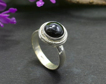 Natural Black Onyx Round Gemstone Ring 925 Sterling Silver R674