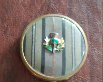 Unusual Vintage Jasmin Naturelle Mirror/Powder Compact, Gold With Striped Top and Celluloid Cover and Enameled Medallion, Made in England