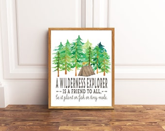 Wilderness Explorer   Adventure Is Out There   Woodland Boy Room Decor   Explore Nursery Print   Camping Nursery Decor   Disney Movie Quote