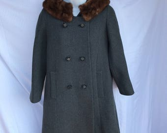 Tweed Swing Coat With Fur Collar, Vintage 50's 60's Pea Coat Jacket, Size Small Medium, Gray
