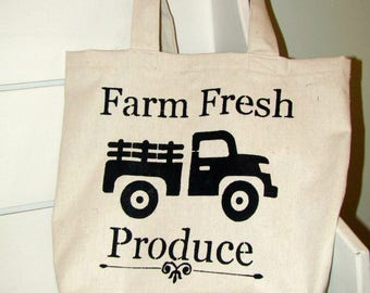 Farmhouse Canvas Tote Bag -Farm Fresh Produce Truck//Tote Bag//Reusable Grocery Bag//Farmer's Market Bag//Old Truck Tote Back