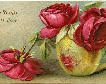 Vintage Floral Postcard Embossed Red Roses in Yellow Vase To Wish You Joy