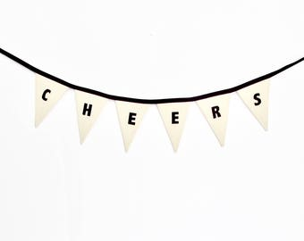 CHEERS Bunting, Fabric Garland, Canvas Bunting, Fabric Bunting, Pennant Flag, Fabric Banner, Party Decor, Black and White Banner